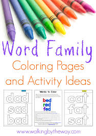 Word Family Coloring Pages Word Family Coloring Cards For Your Beginning Reader