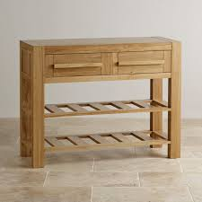 console table oak furniture land rectangle wooden fresco natural solid drawer with tier range shelf for