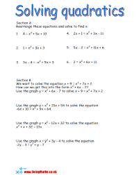 quadratic equations free worksheets