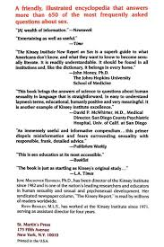 Amazon The Kinsey Institute New Report On Sex 9780312063863.