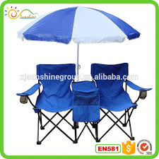 double folding chair w umbrella table cooler foldable beach camping chair with backpack
