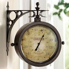 double sided outdoor clock thermometer all large views