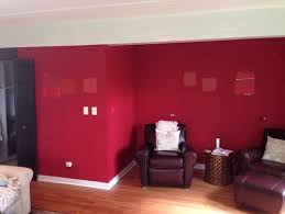 The Red Room  a living room with deep red paint .