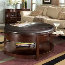 round coffee table with 4 ottomans brown round leather ottoman