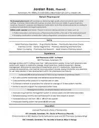 Resume Templates Pharmacist Retail Staggering Cv Samples Curriculum