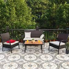 gymax 4pcs cushioned rattan patio