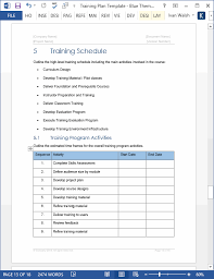 Microsoft Word Schedule Templates Training Plan Templates Ms Word 14 X Excel Spreadsheets