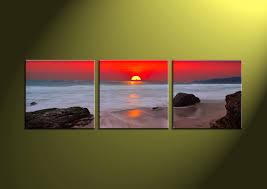 home decor art 3 piece canvas art prints ocean canvas print scenery group on sunset wall art canvas with 3 piece white ocean red sunset canvas wall art