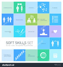 soft skills vector icons pictograms set stock vector  soft skills vector icons and pictograms set black on colorfulf background
