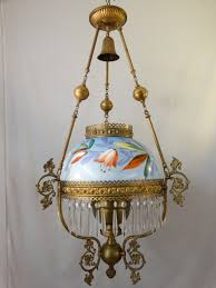 full size of 19thc antique art nouveau era brass painted flower oil lamp lamprey ark lampstand