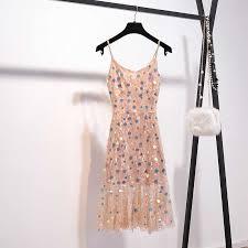 Pink Stars Sequined <b>Dress Women 2019</b> Spring <b>Summer</b> Sweet ...
