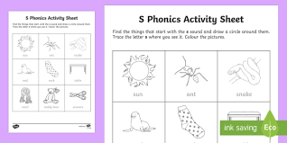 Choose the word that has a particular sound. S Phonics Colouring Worksheet Worksheet Teacher Made