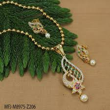 gold plated finish designer chain with cz ruby emerald stones peacock flowers