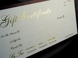 custom gift certificates blank gift certificates print gift printing gift certificate