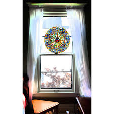 Decorations:Small Space Living Room With Stained Glass Window Film Has  Small Window With Fancy