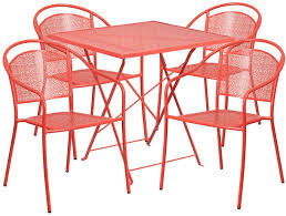 28 square indoor outdoor steel folding patio table set with 4 round back chairs 6 colors