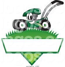 royalty cartoon vector logo of a green lawn mower mascot royalty cartoon vector logo of a green lawn mower mascot mowing grass over a blank
