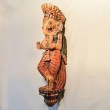 wooden handicrafts wooden wall hanging lord ganesh sculpture 2 0444