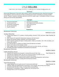 Maintenance Technician Resume Sample Technician Resumes Livecareer