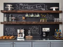 ... Copy This Look: Adding chalkboard paint on this coffee bar wall creates  a cafe-like atmosphere, while the floating shelves add a hint of rustic  style.