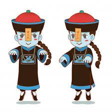 Personagem de desenho animado de zumbi chinês | Vetor Premium