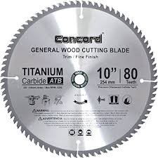 Concord Blades WCB1000T080HP 10 Inch 80 Teeth TCT General Purpose Hard U0026  Soft Wood Saw Blade