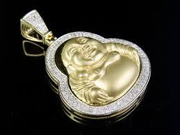 men s 10k yellow gold genuine diamond matte laughing buddha pendant 3 4 ct 1 7