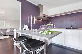 full size of kitchen purple pattern wallpaper black bar stools gray solid countertop chandeliers white