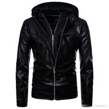 autumn cuff zipper pu leather designer jackets men casual slim hooded black pu jackets size s l mens jackets custom leather jackets from blueberry11