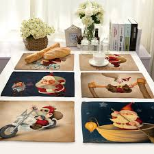 Linen Christmas Table Mat For Dining Table Santa Claus Customized
