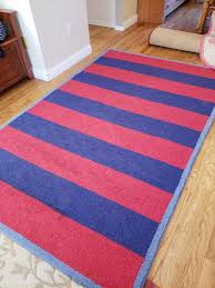 pottery barn kids red blue rugby stripe wool rug 5x8