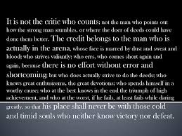 Teddy Roosevelt Critic Quote Man In The Arena Theodore Roosevelt