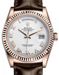 more views rolex day date 36 rose gold white roman dial fluted bezel leather strap