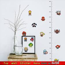 Height Measure Growth Chart Wall Stickers Iron Man Avengers