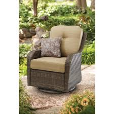 livingroom hampton bay spring haven brown all weather wicker outdoor patio swivel rocker chairs