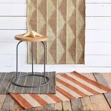 homart seaport kilim rug 2x3 orange white stripe