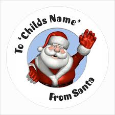 Personalized Christmas Labels Santa Waving