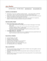 Realtor Resume Examples Cooperative Concept Real Estate Agent Sample