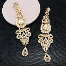 champagne gold chandelier long drop earrings long drop bridal red pageant crystal earrings