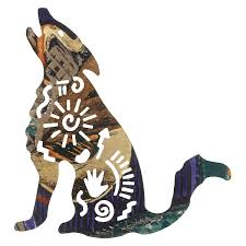story coyote metal wall art 8 inch