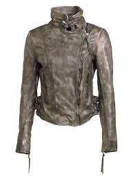 muubaa flax leather biker jacket in army grey