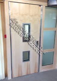 timber finished steel doors with ballistic br5 side glass panels