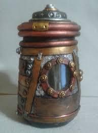 Steampunk stash jar industrial look polymer clay over glass.