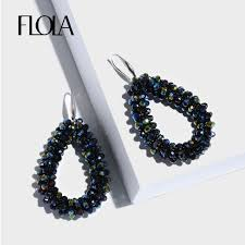 <b>FLOLA</b> 10 <b>Colors</b> Crystal <b>Beads</b> Earrings for Girl Boho Pendientes ...