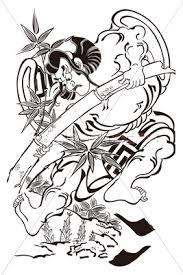 鳥居清倍 市川団十郎の竹抜き五郎イメージイラストの写真イラスト素材