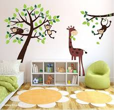 monkey tree jungle nursery wall art stickers decals giraffe childrens bedroom uk on wall art childrens bedrooms uk with monkey tree jungle nursery wall art stickers decals giraffe