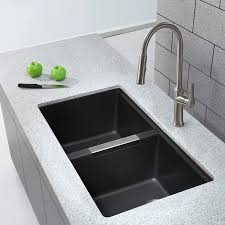 Best Composite Granite Kitchen Sinks Kraus Kgu 434b 33 Inch Undermount 50 50 Double Bowl Black Onyx