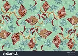Batik Fish Design Batik Indonesian Fish Motif Batik Technique Stock Vector