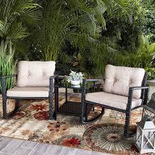 amazon barton patio rocking chair 3pcs set patio wicker rattan bistro furniture outdoor rocker chair cushion w gl coffee table set garden outdoor