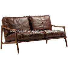 china vintage mid century 2 seater wood frame modern brown leather sofa china wood frame leather sofa vintage leather sofa